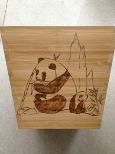 Pyrography Panda adult and baby. Plants box - Panda theme - one side