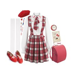 """school days"" by sookii ❤ liked on Polyvore featuring Hello Kitty, bai, John Lewis, Marieyat, Oxford, Johnny Loves Rosie, cute, red, kawaii and jfashion"