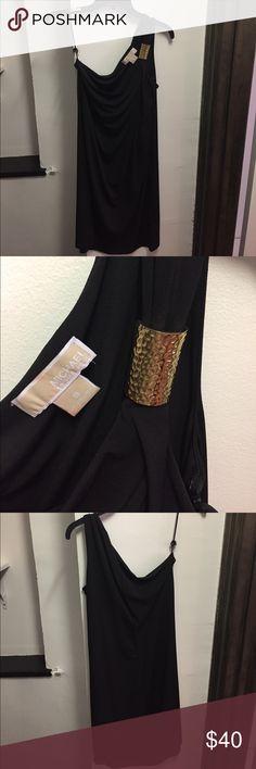Black Cocktail Dress Black one-shoulder dress with gold clasp. Good condition, though hangar strap is broken MICHAEL Michael Kors Dresses