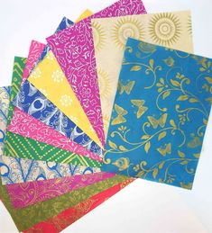 Nepal Lokta Paper PACK OF Screen Print. Indian Block Print, Eco Friendly Paper, Colour Pattern, All Paper, Bright Colours, Paper Dimensions, Christmas Decorations To Make, A5, Nepal