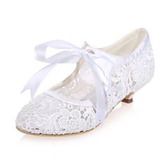 Women's+Spring+Summer+Fall+Lace+Wedding+Party+&+Evening+Low+Heel+Black+Pink+Ivory+White+–+USD+$+85.48