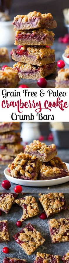 Paleo Cookie Crumb Cranberry Bars that are quick and easy to make and a great healthy dessert for the holidays! Use leftover cranberry sauce!