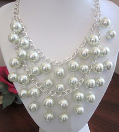 "New Listing - Silver and White Pearl Necklace.  The ""Silver Caroline"" Inspired from ""2 Broke Girls"" TV Show.  Chunky and Fun!"