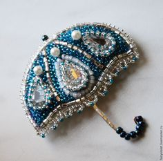 """Купить Брошка """"Зонтик"""" - серебряный, голубой цвет, бирюзовый, жемчуг, брошь, брошь ручной работы"""