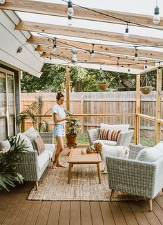 Budget Patio, Patio Diy, Patio Pergola, Wood Patio, Corner Pergola, Pergola Kits, Small Outdoor Patios, Outdoor Spaces, Outdoor Living