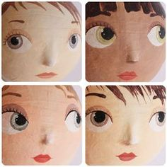 petites têtes en papier mâché Doll Crafts, Diy Doll, Doll Face Paint, Softies, Paper Art, Paper Crafts, Doll Making Tutorials, Paper Mache Clay, Clothespin Dolls