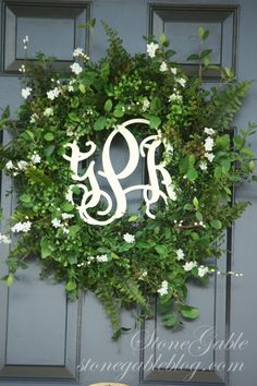 Monogram Front Door Wreath | FRONT DOOR WREATH~ SUMMER 2013