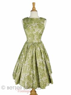 60s Dress With Full Skirt in Polished Cotton - sm by Better Dresses Vintage