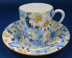 Vintage Blue Daisy Chintz Shelley Cup And Saucer Mocha Demitasse via Etsy
