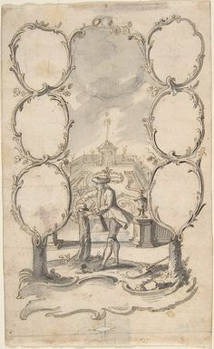 Ornamental family tree with man planting a tree and garden beyond  Attributed to Anonymous, German, 18th century