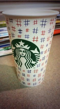 """""""A #hashtag @Starbucks Loves Loves Loves cup in red, white, and blue for the first day of the #WhiteCupContest. Because, why not?"""" Design by Sarah E. Squires."""