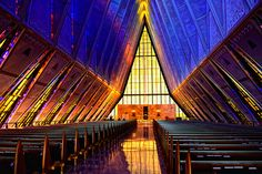 Inside of the Chapel at the Air Force Academy, Colorado Springs, CO