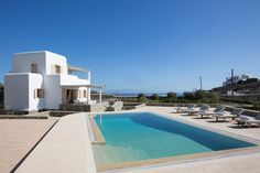 Mykonos pool villa with stunning sea views. Elegant holiday home with BBQ and shadded outdoors dining and seating areas. A celebration of life. Mykonos, Greece, Villa, Outdoor Decor, Artist, Life, Greece Country, Artists, Fork