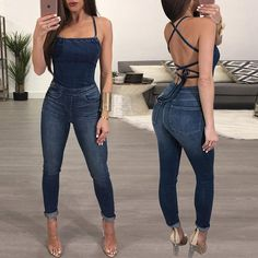 bb068ff262b Shop Denim Sexy Crisscross Open Back Skinny Denim Jumpsuit. Kimberly · Chic  Me Clothes