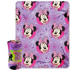 Disney Minnie Mouse Bowtique Kids Purple Fleece Throw Blanket