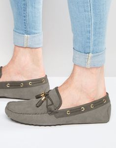 12e80625d0d2c ASOS Driving Shoes in Grey Suede With Tassel and Gold Clips at asos.com
