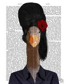 Amy Winehouse Goose Art Illustration Giclee Print by FabFunky, $12.00