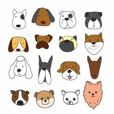 Dog Vector, Free Vector Art, Doodle Drawings, Doodle Art, Tier Doodles, Dog Illustration, Illustrations, Expression Face, Logo Animal