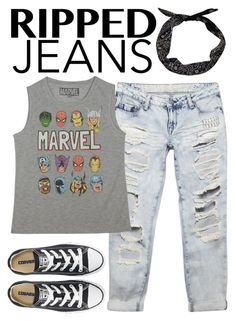 """""""Style This Trend: Ripped Jeans"""" by avonsblessing94 ❤ liked on Polyvore featuring Wet Seal, Marvel, Converse, rippedjeans, trend and polyvorecontest"""