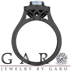 Aquamarine And Black Diamond Engagement Ring 14K Black Gold Vintage Style 0.95 Carat Certified Pave Set Halo HandMade