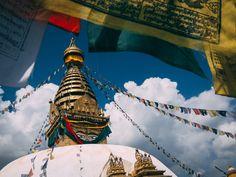 Monkey Temple and Prayer Flags in Kathmandu, Nepal