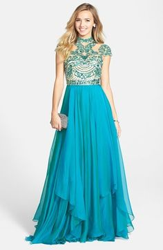 Sherri Hill Embellished High Neck Illusion Chiffon Gown