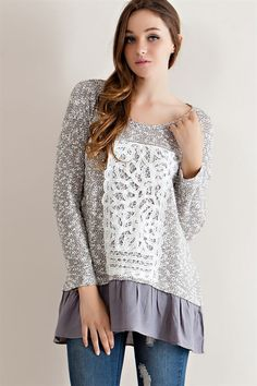 Two Tone Textured Tunic - Grey