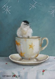 bird teacup painting Cup of Cheer Starry Night by 4WitsEnd on Etsy