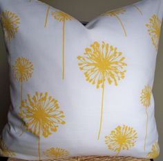 Yellow Dandelion Pillow Cover Throw Pillow Accent Pillow 18X18