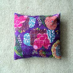 Purple Multi Colour Indian Ethnic Floral Kantha Print Cushion Cover 16 ...