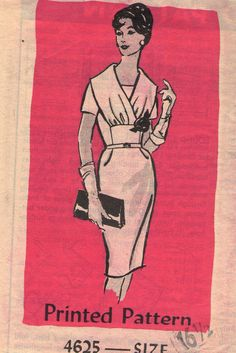 "Vintage 1960s Mail Order Sewing Pattern 4625 - Misses' Dress size 16 1/2 bust 37"""