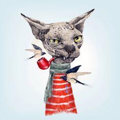 Sphynx cat Art Print