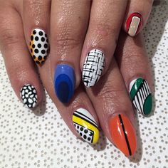 Fun mix #handpainted by @ohriginails #Gina #nailart #gelnail #vanityprojects  (at Vanity Projects)