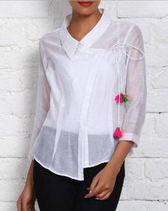 White chanderi top in angrakha style.