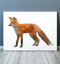 Cute Geometric print. Beautiful Wildlife poster for your home and office. Lovely Fox art. Nice modern Animal print.  SIZES: A4 (8.3 x 11) and A3