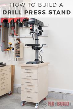 DIY Drill Press Stand with storage drawers to organize drill press accessories. Full video and drill press stand plans available! The drill press cabinet can be made from just 1 full plywood sheet.