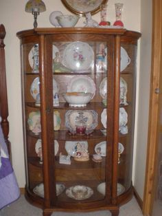 Victorian Curved Oak China Cabinet w/ Lions Head Leaded | eBay ...