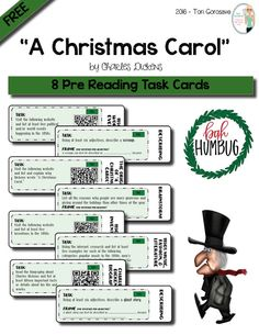"""FREE """"A Christmas Carol"""" Pre Reading Task Cards  8 task cards. Use the classic Christmas tale, """"A Christmas Carol,"""" by Charles Dickens, to teach your students how to closely analyze literature through the use of task cards. This lesson plan includes 8 pre reading task cards that will allow your students to develop much needed background information about the story in a fun and engaging manner."""