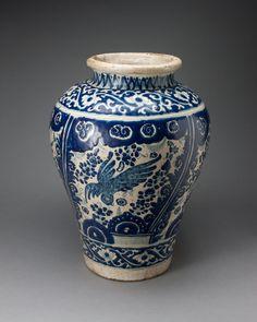 Talavera poblana Puebla, Mexico  Vase Depicting a Phoenixlike Bird, 1700/50  Tin-glazed earthenware