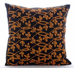 Handmade Brown Throw Pillows Cover, 16x16 Silk Pillow Covers, Square Orange Leaves Garden Pillows Cover - Maple Leaf _________________________________________________________________________________  The design Maple Leaf has been conceptualized and created, keeping in mind the finest details and needs to decorate your beautiful abode. It is a perfect addition to enhance your living room, bedroom, guestroom or office. I promise it will give a WOW factor to you and your guests visiting your…