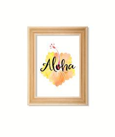 Aloha print. Instant printable.PDF JPG diy digital wall art. Hibiscus flower print. Typographic print. Hawaii  flower print. Watercolor. by GrapevineDesignShop on Etsy