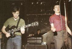Ian Curtis and Bernard Sumner on stage, Joy Division Joy Division, Kevin Curtis, Charming Man, Alternative Music, Post Punk, New Wave, Music Stuff, Music Bands, Rock Music