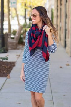 Red/Navy Plaid Blanket-stitch Scarf Shawl