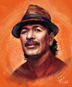 digital art portrait Carlos Santana