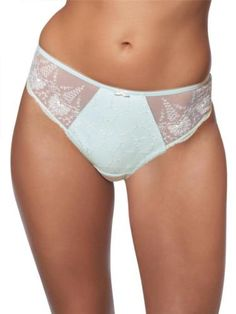 Fantasie Elodie Womens Sexy Embroidered Thong Ice Size XL  Exceptional quality thong from Fantasie. This lovely thong is in a pale ice blue mesh with intricate cream embroidery on the front panel and mesh side panels, plain silky microfibre back and finished with a cream bow.   Happy shopping Angela x #fantasie #lingerie
