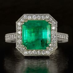 3.42ct NATURAL EMERALD ASSCHER 1.27 EX CUT PAVE DIAMOND COCKTAIL RING WHITE GOLD