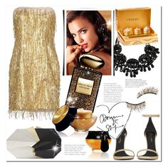"""Gold Short Dresses"" by bellamonica ❤ liked on Polyvore featuring Avon, Jenny Packham, Yves Saint Laurent, Armani Beauty, Jill Haber, Kre-at Beauty and By Terry"