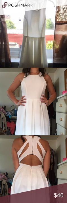 Lulu's White Fit n Flare Dress 🌸White fit n flare, high neck, cut out back, above the knee length. Beautiful for a summer event. Worn only once!🌸 Lulu's Dresses