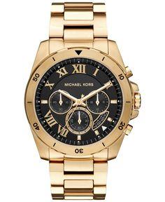 Michael Kors Men's Chronograph Brecken Gold-Tone Stainless Steel Bracelet Watch 44mm MK8481