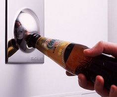 We all have magnets on our fridge, but most of them don't have half the utility of this one. The Bottle Opener / Fridge Magnet. Gadgets And Gizmos, Cool Gadgets, Lampe Rose, Stocking Stuffers For Men, Shops, Cool Inventions, Refrigerator Magnets, Kitchen Gadgets, Kitchen Stuff